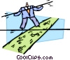 man walking high wire over financial disaster Vector Clipart picture