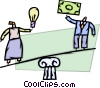man with money and woman with idea Vector Clipart picture