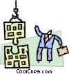Businessman building office building Vector Clipart graphic
