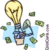 man in idea hot air balloon with net catching money Vector Clip Art picture