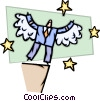 Businessman Soaring to New Heights Vector Clip Art image