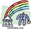 Businessman Chasing Rainbow to bank Vector Clip Art graphic