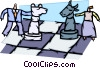 people playing chess with stock market symbols Vector Clipart image
