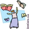 Woman with flying books Vector Clip Art picture