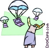 Woman with computers parachuting to the ground Vector Clip Art picture