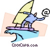 man windsurfing with e-mail symbol Vector Clip Art graphic