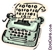 Typewriter with digital code Vector Clipart graphic