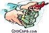 Hands with money and cell phone Vector Clipart image