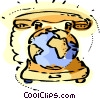 Communication Concepts Telephone with globe Vector Clip Art picture
