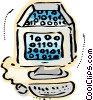 Computer workstation with digital code Vector Clipart image