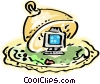 Computer Desktop System under glass Vector Clipart illustration