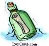 Vector Clip Art image  of a Message in a Bottle