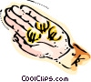 Hand with Currency Symbols Vector Clip Art picture