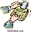 Hands and calculator Vector Clipart illustration