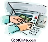 Hands at automated bank machine Vector Clip Art picture