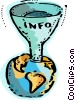 Info funnel into globe Vector Clip Art graphic