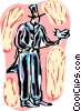 Vector Clip Art graphic  of a Magician with dove