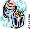 Vector Clip Art picture  of a Cotton candy and popcorn