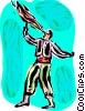 Vector Clipart illustration  of a Fire eater performing