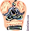 Circus Performer sitting on bed of nails Vector Clip Art image