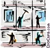 Vector Clip Art image  of a Window Cleaning