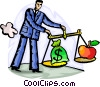 man with money bag and apple on scale Vector Clipart graphic