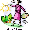 Businesswomen painting sunshine Vector Clipart image