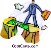 Businessman walking over money bridge Vector Clip Art graphic