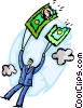 Businessman's money parachute ripping Vector Clipart picture
