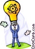 Idea Concepts man with idea light bulb Vector Clip Art image