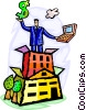 man on buildings with dollar sign and computer Vector Clipart picture