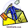 Businessman in E-mail Vector Clip Art graphic