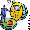 man talking on video phone Vector Clipart image
