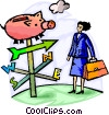 Businesswoman with piggy bank compass Vector Clipart illustration