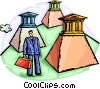 Businessman with banks on pedestals Vector Clip Art picture