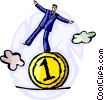 Businessman balancing on a coin Vector Clipart illustration