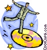Businessman dancing on a cd-rom Vector Clipart picture