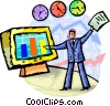 Businessman Charting Success Vector Clipart illustration