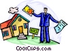 Man buying a house on credit Vector Clipart graphic