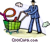 Businessman shopping online Vector Clip Art graphic