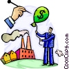 man's financial balloon being popped Vector Clip Art picture