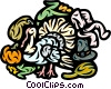 Turkey with pioneer hat, corn and pumpkin Vector Clipart image