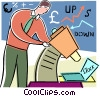 man looking through microscope at stocks Vector Clipart illustration