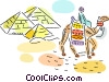 Pyramids with person on camel Vector Clip Art graphic