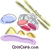 Vector Clipart graphic  of a Downhill Skiing