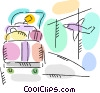 Luggage on a rack in airport Vector Clipart picture