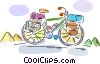 Bicycle loaded with travel supplies Vector Clip Art graphic