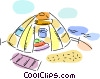 Tent at campground Vector Clip Art picture
