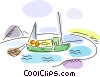 Vector Clipart graphic  of a Fishing Boats
