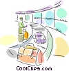 Passenger at airport waiting for their luggage Vector Clipart illustration
